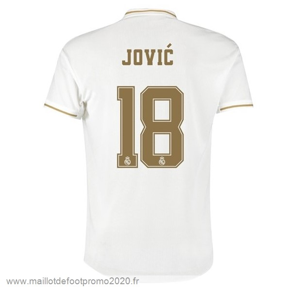 Maillot De Foot Pas Chere NO.18 Jovic Domicile Maillot Real Madrid 2019 2020 Blanc